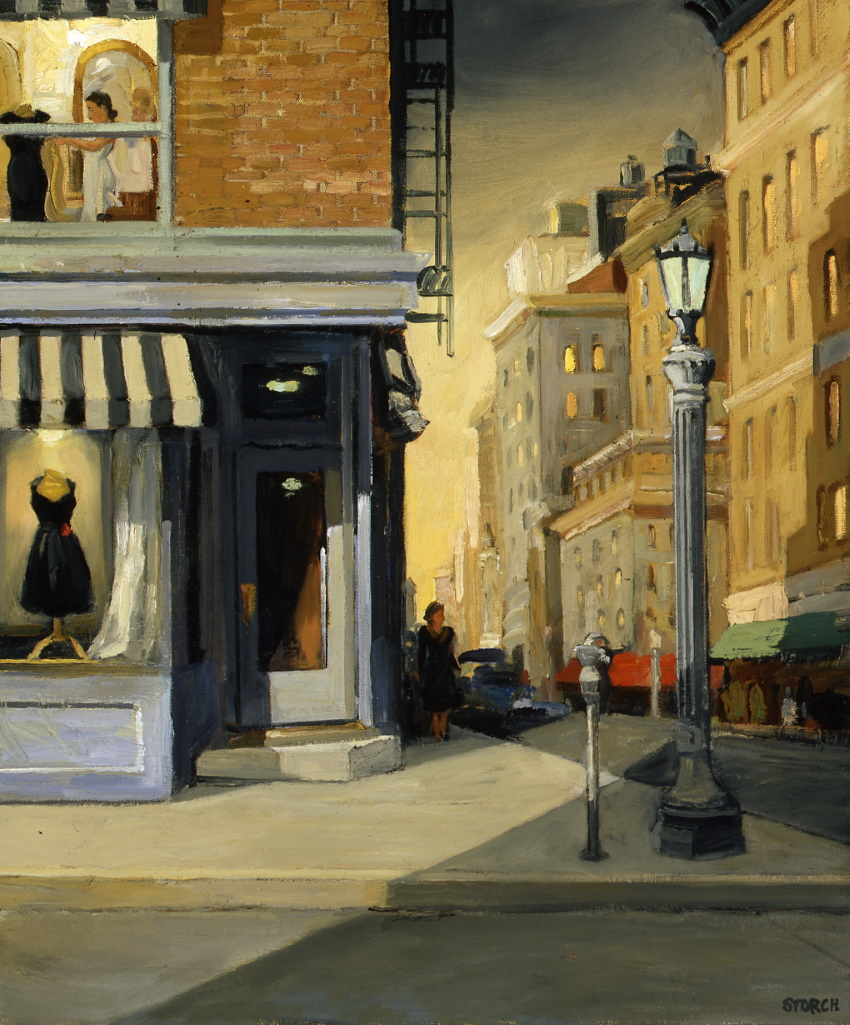 "Little Black Dress #24, Dressmaker at Dusk, 24"" x 20"", oil on canvas"