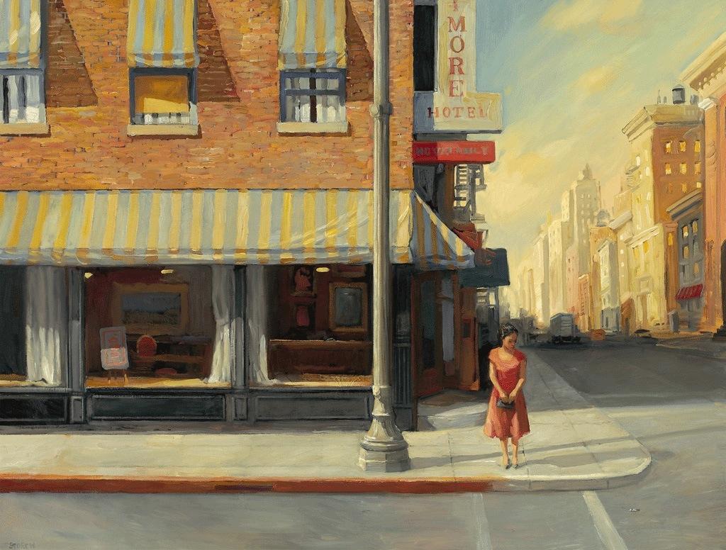 """Meeting Mr. Allen, 31"""" x 41"""", oil on canvas"""