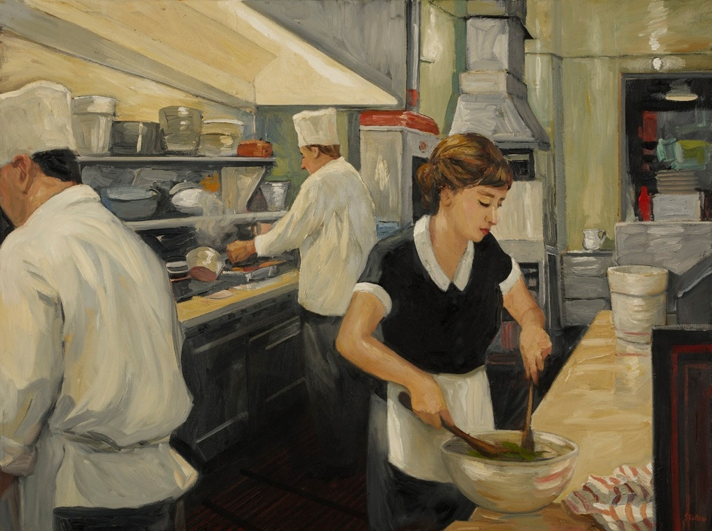 """Night Kitchen, Grace, 30"""" x 40"""", oil on canvas"""