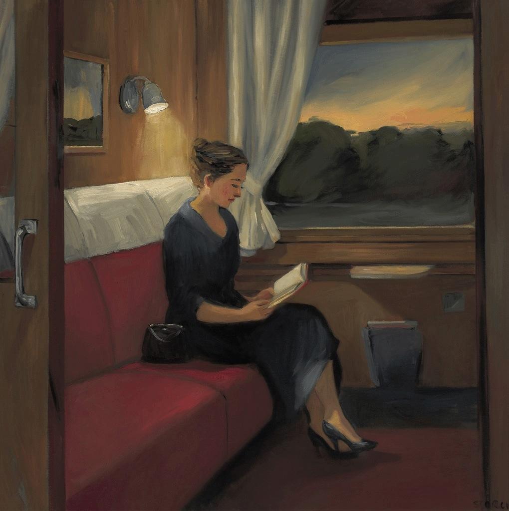 "Northeast Train at Dusk, 30"" x 30"", oil on canvas"